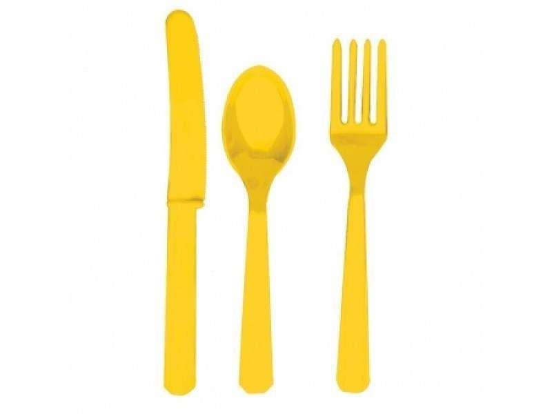 Stalo įrankių rinkinys ,geltonas (8-iems asmenims)