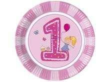 """Lėkštutės """"Pirmasis mergaitės gimtadienis"""" (23cm/8vnt)"""